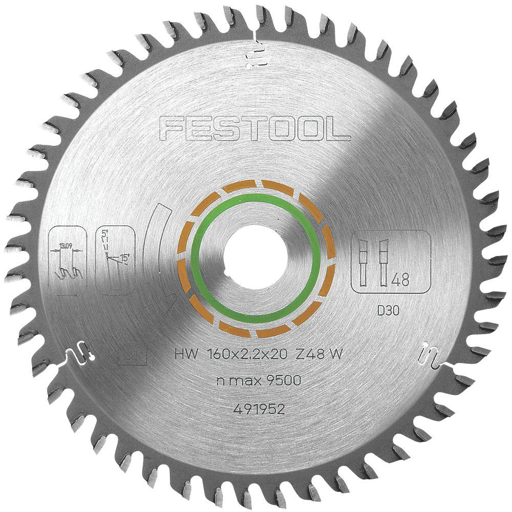 Festool 491952 Fine Tooth Saw Blade - 160mm x 20mm x 48 Teeth. For use with the TS55 Saw